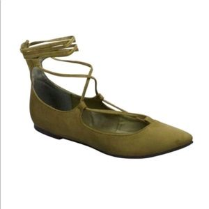 Lace Up Ballet Flat- Olive Green